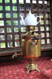 Copper samovar with teapot Stock Image