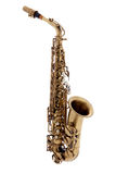 Copper saxophone over white background Royalty Free Stock Photo