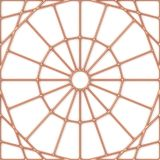 Copper seamless round ornament on white with shadows. Copper seamless round ornament decor on white wall with shadows, simple geometric pattern, 3D illustration stock illustration