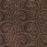Copper seamless texture with swirls pattern. 3d illustration Royalty Free Stock Photography