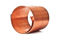 Copper sheet rolled into a roll Stock Image