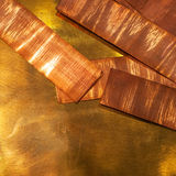 Copper. Sheets of shining orange copper Royalty Free Stock Photography
