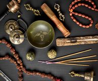 Tibetan religious objects for meditation Royalty Free Stock Photos
