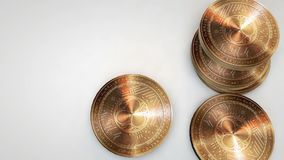 Copper sonm coins falling on white background. Animation stock video footage
