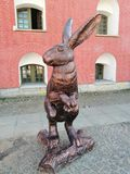 The  statue of a hare at the Cathedral square stock images