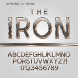 Copper Steel Alphabet and Digit Vector Stock Image