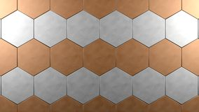 Copper  steel hexagon background Royalty Free Stock Photo