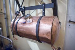 Copper still alembic inside distillery Royalty Free Stock Images