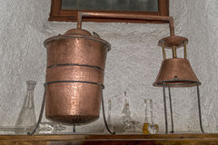 Copper still alembic inside distillery Stock Photo