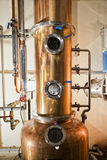 Copper still alembic inside distillery Royalty Free Stock Photos