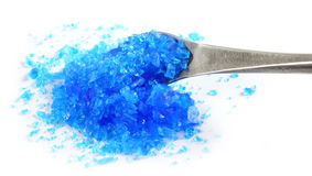 Copper sulphate with a steel spatula Stock Image