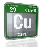Copper symbol in square shape with metallic border and transparent background with reflection on the floor. 3D render. Element number 29 of the Periodic Table vector illustration