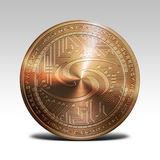 Copper syscoin coin isolated on white background 3d rendering. Illustration Stock Photo