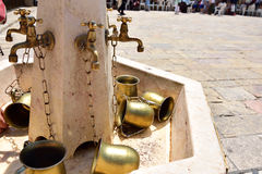 Copper taps for ritual ablution, Jerusalem Stock Images