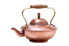 Copper tea pot isolated on white Background. Old nostalgic copper tea pot with wooden handle isolated on white background stock image