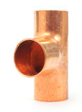 Copper tee pipe fitting Royalty Free Stock Photo