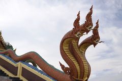 Copper three headed naga statue Stock Photo