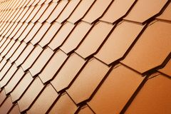 Copper tile wall Royalty Free Stock Photography