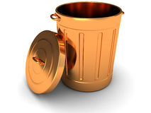 Copper trashcan. 3d illustration of copper trash can over white background Stock Photos
