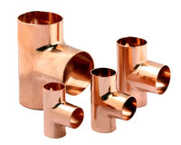 Copper Tree Fittings Stock Image