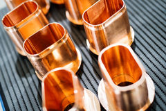 Copper tube metal scrap parts background Stock Photo