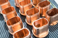 Copper tube metal scrap parts background Royalty Free Stock Image