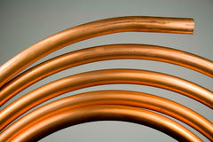 Copper Tubing. New Copper Tubing used for Home Water Plumbing Stock Photos