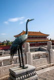 The Copper Turtle and the Copper Crane before the Taihe Temple in the Palace Museum Stock Photos