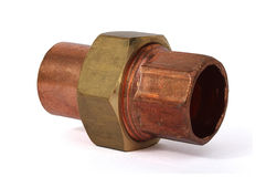 Copper union fitting stock photography