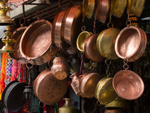 Copper utensil at the asian market. Copper utensil - pans and pots at the Old Market in Kathmandu, Nepal Royalty Free Stock Photography