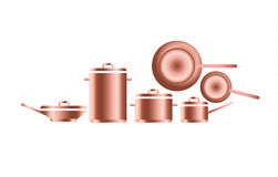 Copper utensils for professional kitchens. Stock Photography