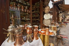 Copper utensils. Sarajevo old Town Bascarsija  copper utensils and souvenirs Stock Image