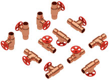 Copper valves set Stock Photo