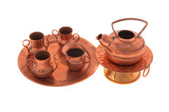 Copper ware. Isolated on a white background Royalty Free Stock Photo