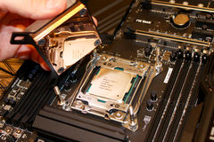 Free Copper Water Block Install Over CPU Stock Photo - 90782500
