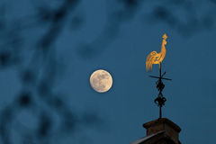 Copper weathercock in moonlight Royalty Free Stock Photo