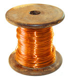 Copper wire. In varnish isolation on the coil Stock Image