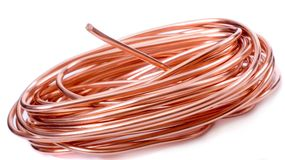 Copper wire. Isolated on white Royalty Free Stock Images