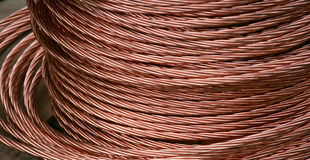 Copper wire. Copper cable on a reel Royalty Free Stock Photography