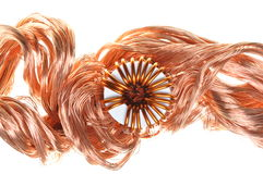 Copper wire with coil Stock Image