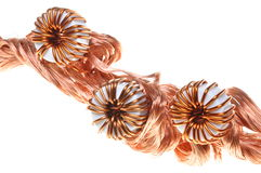 Copper wire with coils Stock Photos