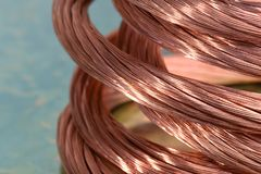 Copper wire, concept of industry of raw materials. Copper wire, concept of industry development and market of raw materials royalty free stock image