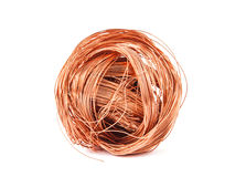 Copper wire. Isolated on white Stock Photography