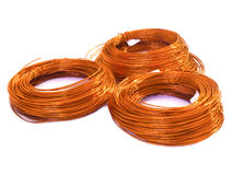 Copper wire on white background Stock Photography
