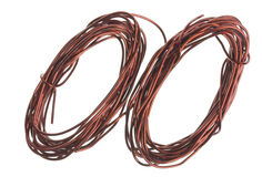 Copper wires. Winding enamelled copper wires for electrical circuits isolated macro. Slective focus Stock Photography