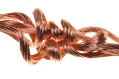 Copper wires, symbol of power energy industry Stock Photos