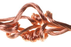 Copper wires, symbol of power energy industry Stock Image