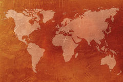 Copper World map. Copper World unusual art map Stock Photo