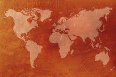 Copper World map Stock Photo