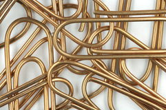 Copper writing paper clips Royalty Free Stock Photos